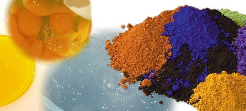 Ekologisk färg - äggoljetemepra. Bild förställande ingredienser för äggoljetempera; linolja, pigment, vatten och ägg